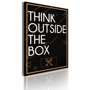 Schilderij - Think outside the box, Zwart-Wit, 1luik, 50x70cm