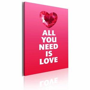 Schilderij - All you need is love 50x70cm, roze