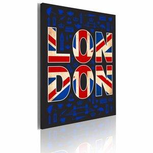 Schilderij - Alles over Londen, Rood/Blauw, 1luik, 50x70cm