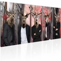 Schilderij - Andere Gezichten , mannen met dierenmasker , 5 luik