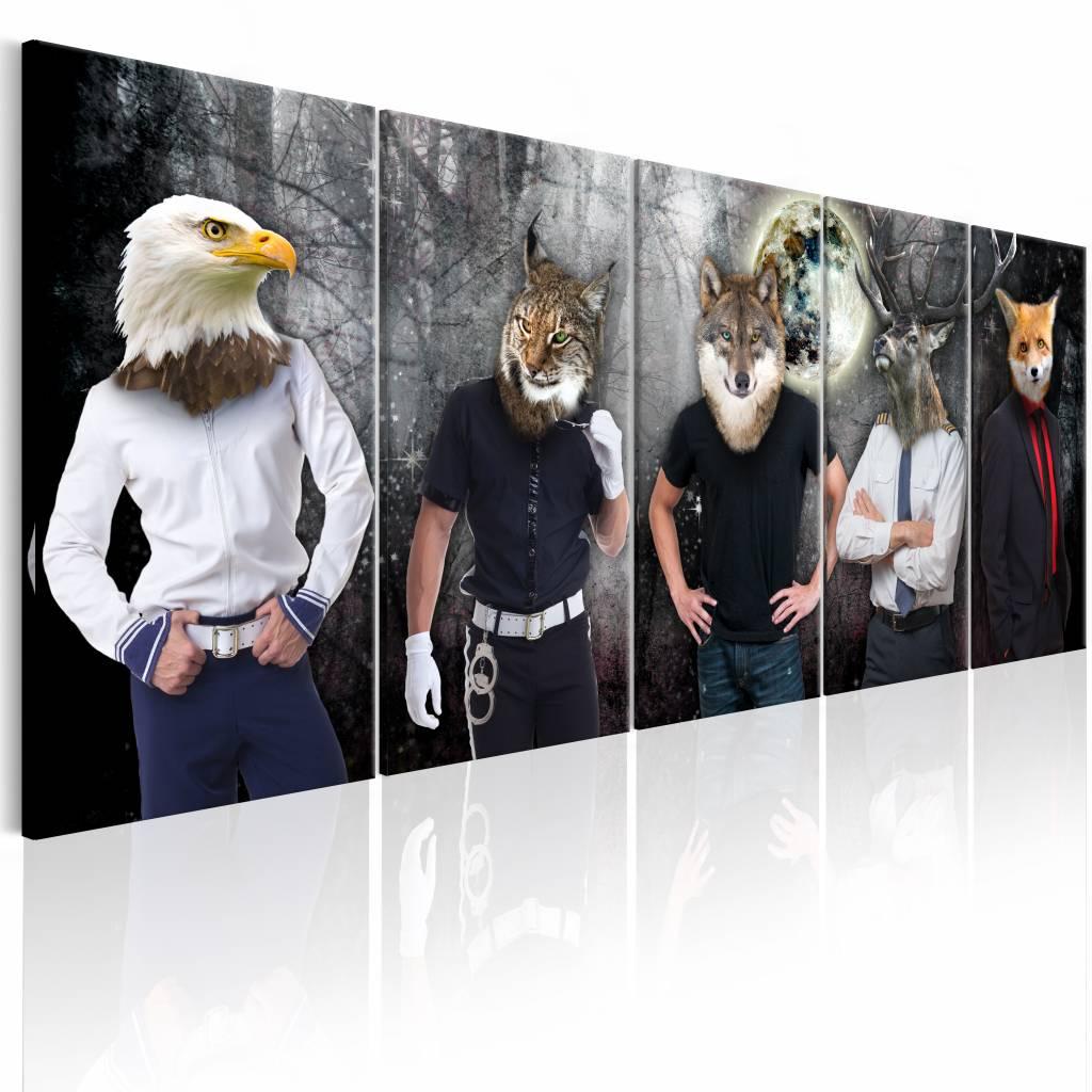 Schilderij - Andere Gezichten , mannen met dierenmasker , 5 luik , 2 maten