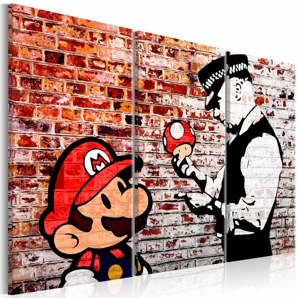 Schilderij - Muurschildering op baksteen - Banksy , rood , mario bros , 3 luik , 2 maten