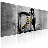 Schilderij - Banksy: Aap met Frame , grijs , 5 luik
