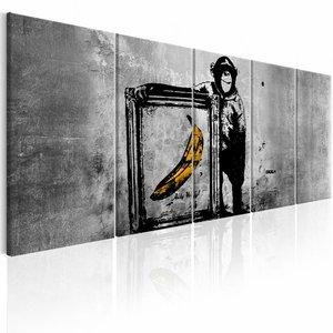 Schilderij - Banksy: Aap met Frame , grijs , 5 luik , 2 maten