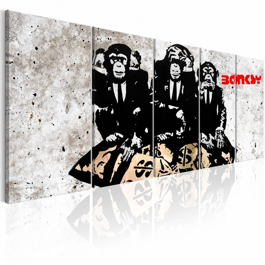 Schilderij - Banksy: Drie Apen , horen zien zwijgen , 5 luik , 2 maten