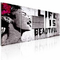 Schilderij - Banksy: Life is Beautiful , 5 luik  , rode bloem