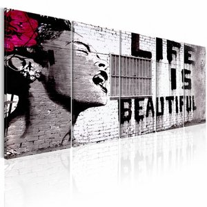 Schilderij - Banksy: Life is Beautiful , 5 luik , 2 maten , rode bloem