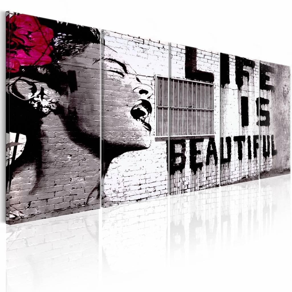 Schilderij - Banksy: Life is Beautiful , 5 luik , 2 maten , rode bloem