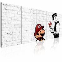 Schilderij - Graffiti op Steen - Banksy , witte muur , 5 luik   , politie
