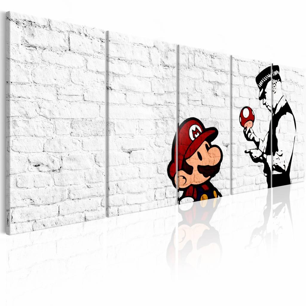 Schilderij - Graffiti op Steen - Banksy , witte muur , 5 luik , 2 maten , politie