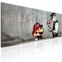 Schilderij - Mario Bros op Beton - Banksy , grijs , 5 luik   , politie