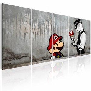 Schilderij - Mario Bros op Beton - Banksy , grijs , 5 luik , 2 maten , politie