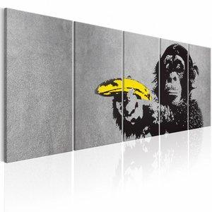 Schilderij - Aap en Banaan - Banksy , 5 luik
