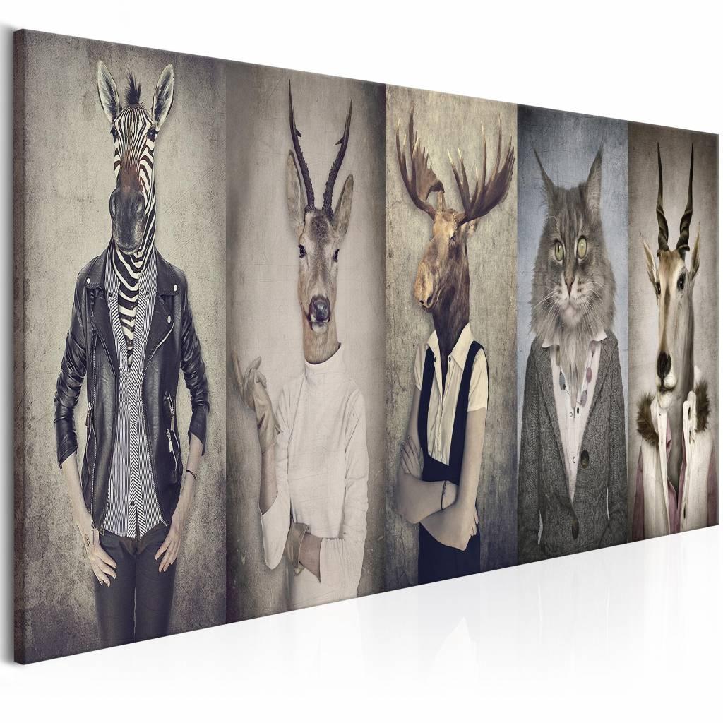 Schilderij - Dierenmasker , 5 luik , mens met dierenmasker , 2 maten