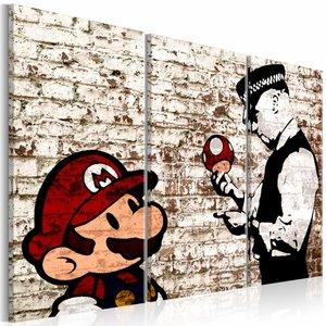 Schilderij - Gescheurde muur - Banksy , 3 luik , 2 maten rood wit
