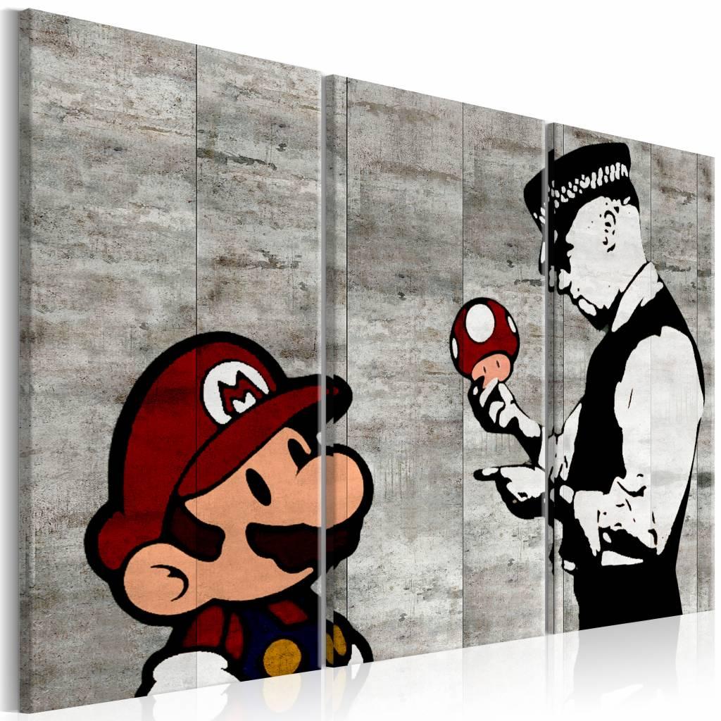 Schilderij - Banksy: Mario Bros , grijze muur , 3 luik , 2 maten ,zwart wit