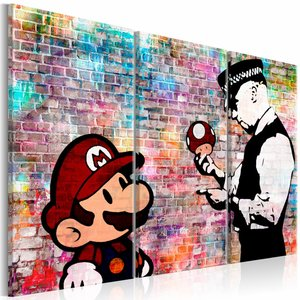 Schilderij - Regenboog muur - Banksy , mario bros , 3 luik , 2 maten , multi kleur