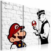 Schilderij - Mario Bros - Banksy , muurschildering , 3 luik ,   zwart wit