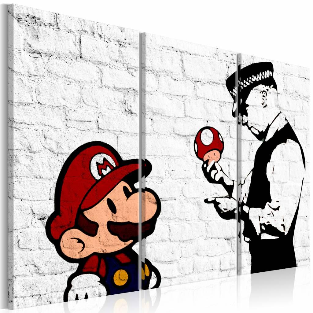 Schilderij - Mario Bros - Banksy , muurschildering , 3 luik , 2 maten zwart wit