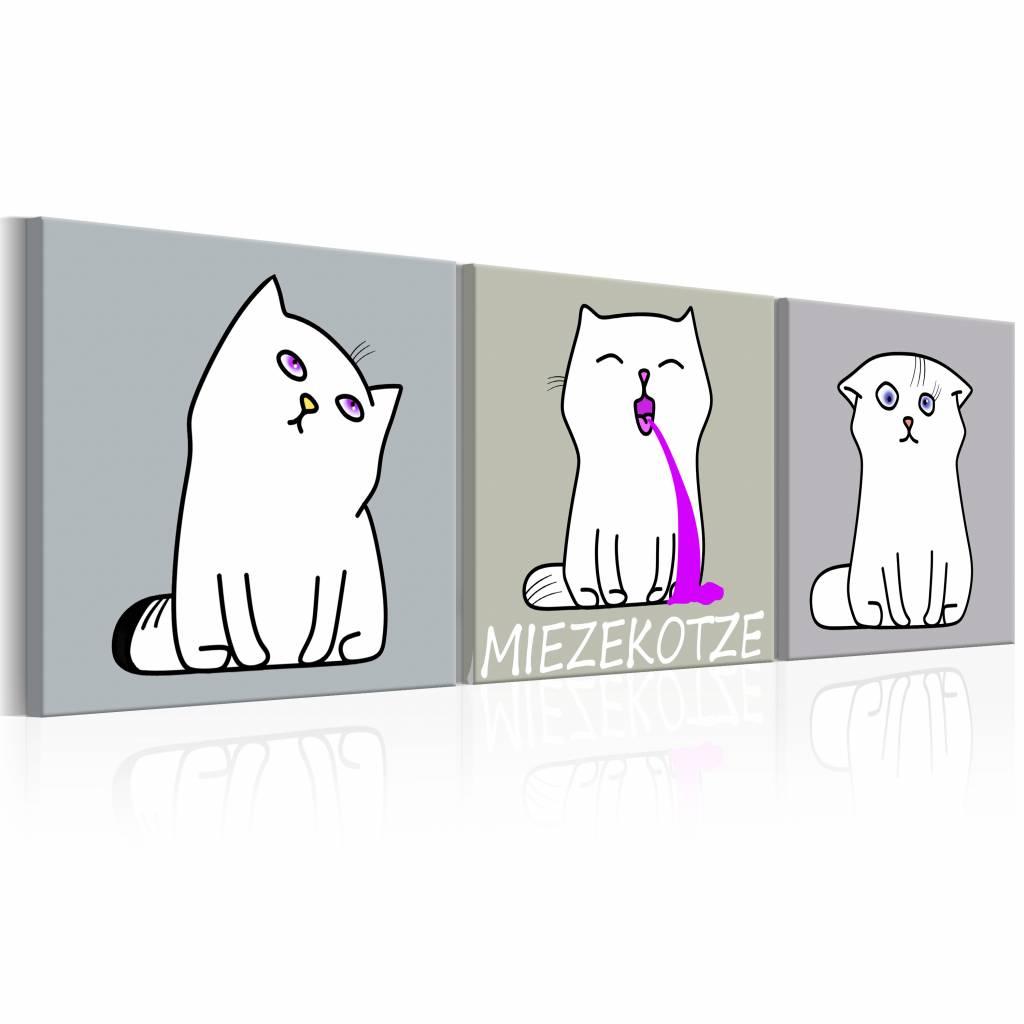 Schilderij - Miezekotze: 3 Katten 120X40 , grijs , 3 luik