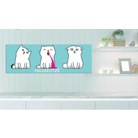 Schilderij - Miezekotze: 3 Katten , blauw