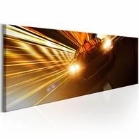 Schilderij - Straat Race 150X50 , goudkleurig , 1 luik
