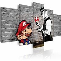 Schilderij - Super Mario Mushroom Cop - Banksy, Zwart-Wit/Rood,   5luik