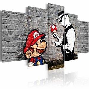Schilderij - Super Mario Mushroom Cop - Banksy, Zwart-Wit/Rood, 2 Maten, 5luik