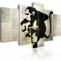 Canvas Schilderij - Aapje TNT Detonator - Banksy, Zwart, 2 Maten, 5luik