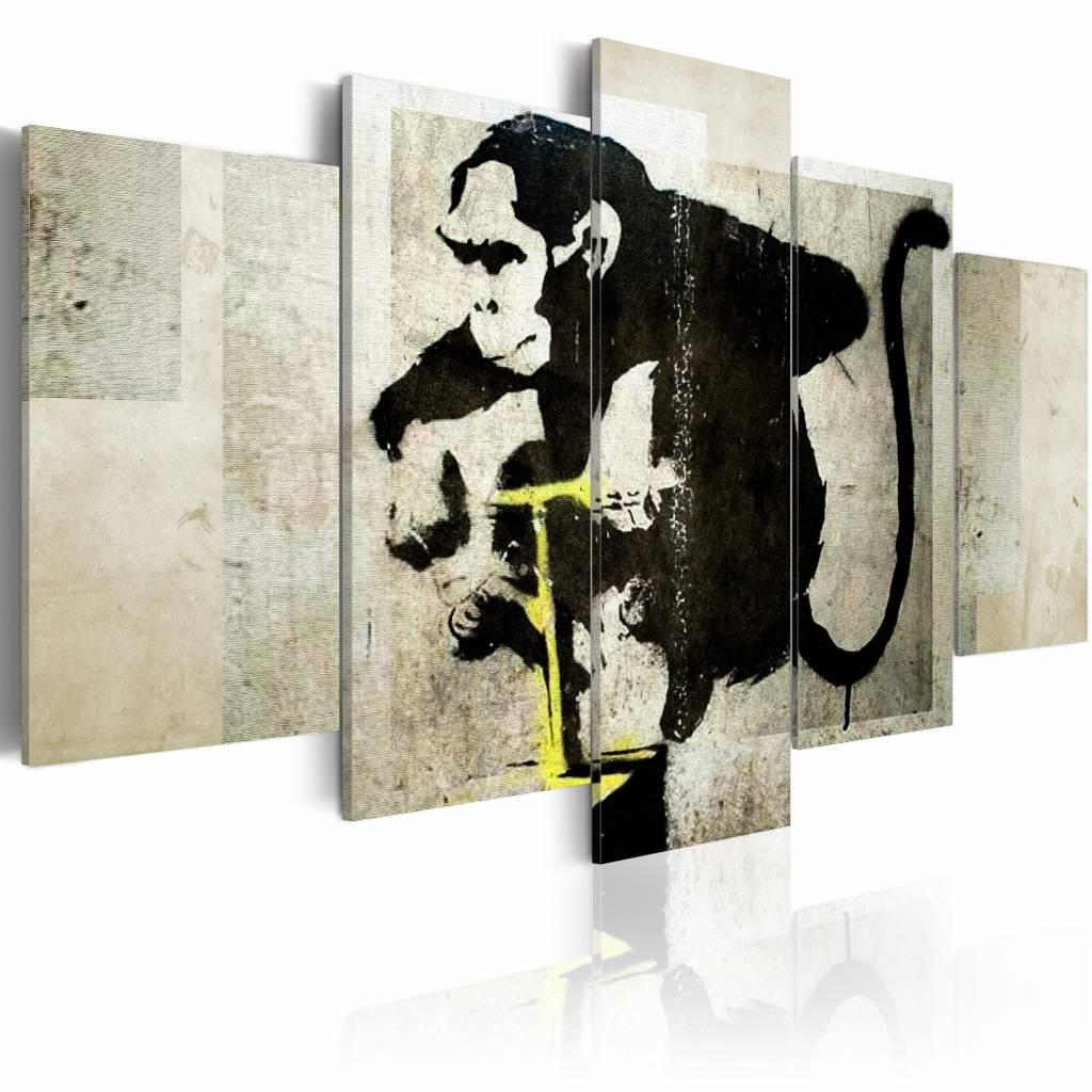 Schilderij - Aapje TNT Detonator - Banksy, Zwart, 2 Maten, 5luik