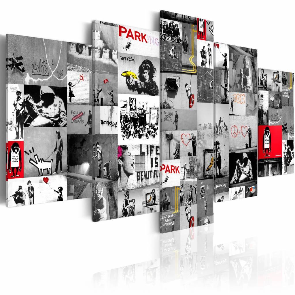 Schilderij - Collage Banksy, Grijs/Rood, 5luik