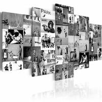 Schilderij - Collage Banksy , Zwart-Wit, 2 Maten, 5luik