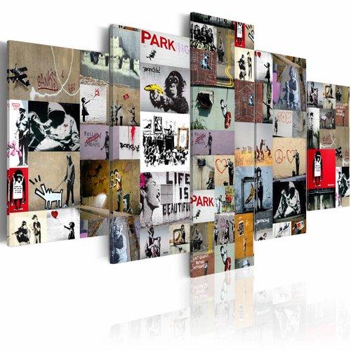 Schilderij - Banksy Collage, Multi-gekleurd,  2 Maten, 5luik