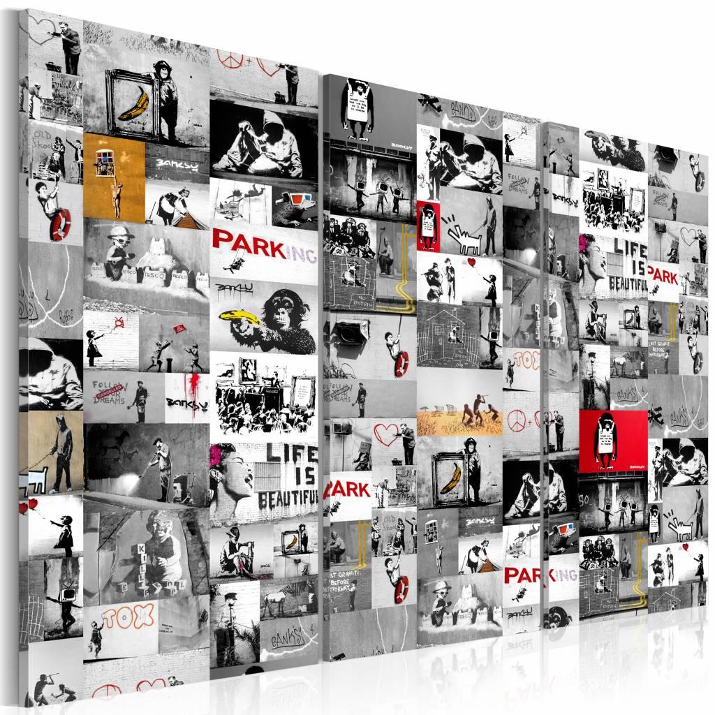 Schilderij - Collage Banksy , 3 luik , multikleur