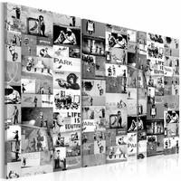 Schilderij - Collage Banksy Zwart-Wit , 3  luik