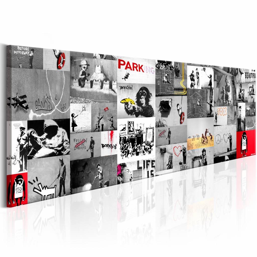 Schilderij - Collage Banksy 150X50 , rood zwart wit , 1 luik