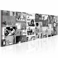 Schilderij - Collage Banksy Zwart-Wit 150X50 , 1 luik