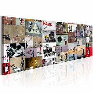 Schilderij - Banksy Collage 150X50cm , multikleur