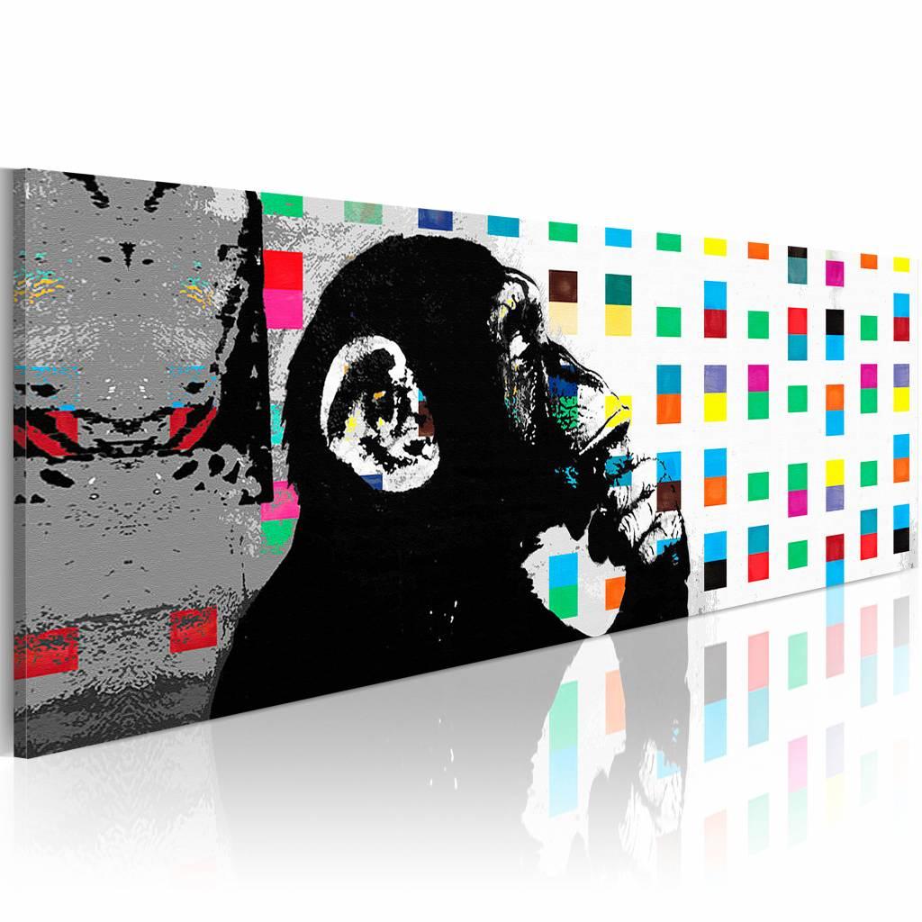 Schilderij - De denkende Aap - Banksy 150X50 , multikleur , 1 luik