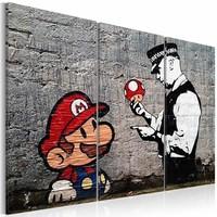 Schilderij - Super Mario Mushroom Cop - Banksy  , paddenstoel politie , 3 luik   , grijs rood