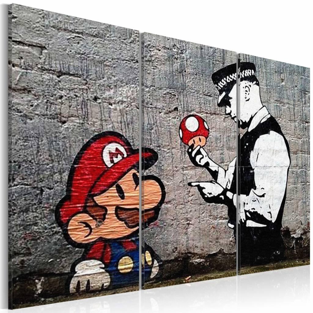 Schilderij - Super Mario Mushroom Cop - Banksy , paddenstoel politie , 3 luik , 2 maten , grijs rood