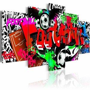 Schilderij - Graffiti: Voetbal II ,  multikleur , 5 luik