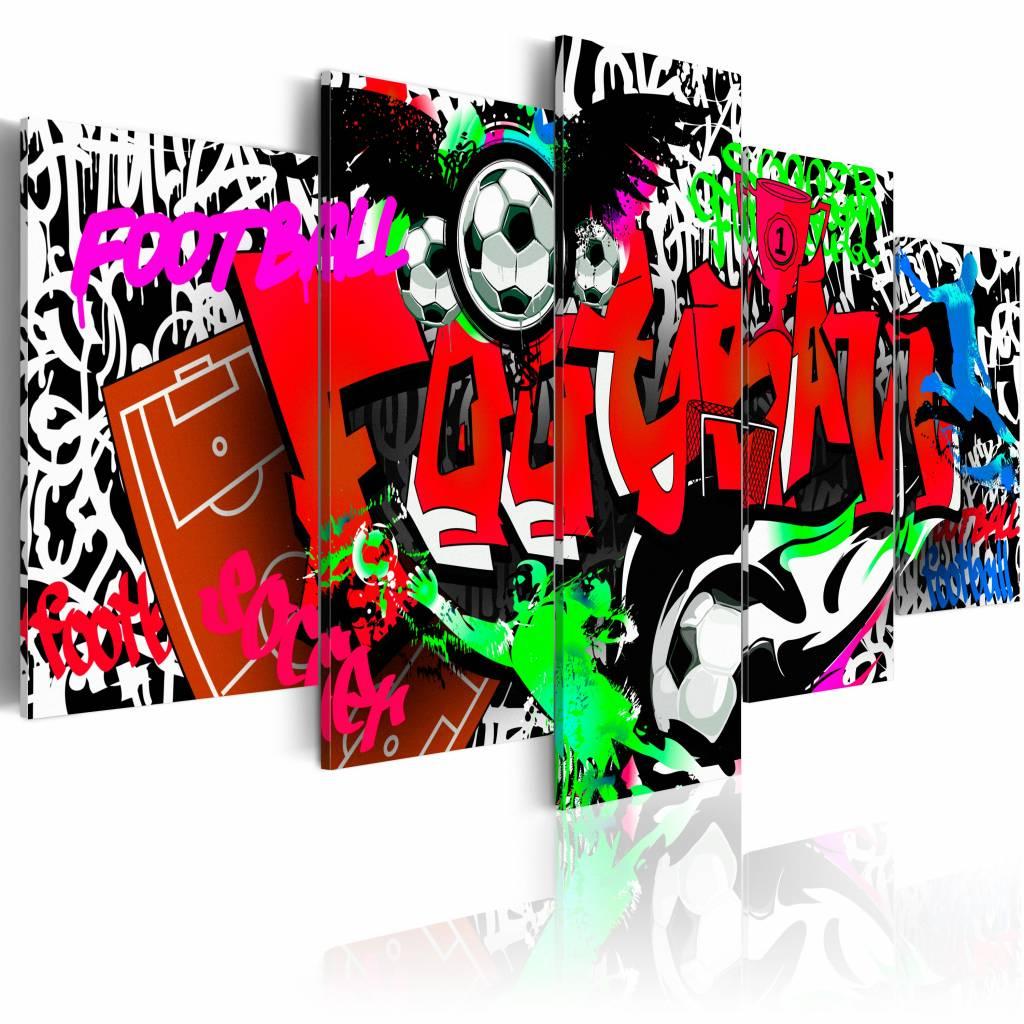 Schilderij - Graffiti: Voetbal II , multikleur , 5 luik , 2 maten