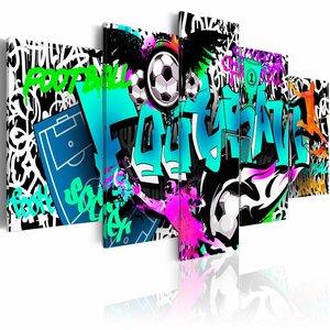 Schilderij - Graffiti: Voetbal , multikleur , 5 luik