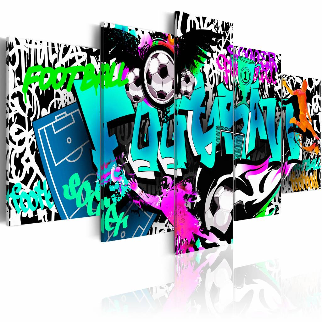 Schilderij - Graffiti: Voetbal , multikleur , 5 luik , 2 maten