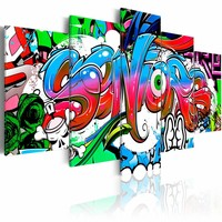 Schilderij - Graffiti: Seniors II , multikleur , 5 luik