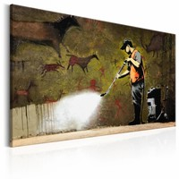 Schilderij - Banksy - Grot tekening, Multi-gekleurd, 1luik