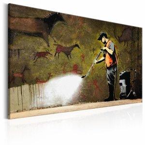 Schilderij - Banksy - Grot tekening , bruin , wanddecoratie , premium print op canvas