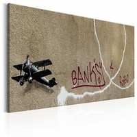 Schilderij - Banksy - Love Plane, Beige/Rood/Zwart, 1luik