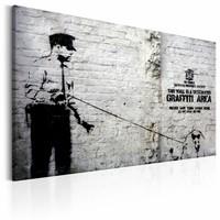 Schilderij - Banksy - Politie agent met hond , zwart wit , wanddecoratie , premium print op canvas